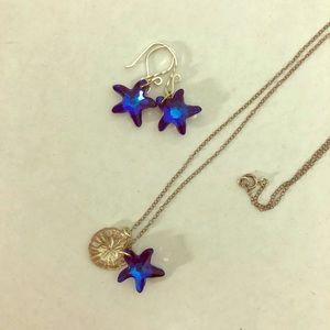 Sea Stars Sand Dollar Necklace Earrings Set Beachy